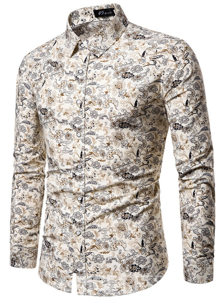 Ericdress Lapel Button Casual Single-Breasted Mens Shirt