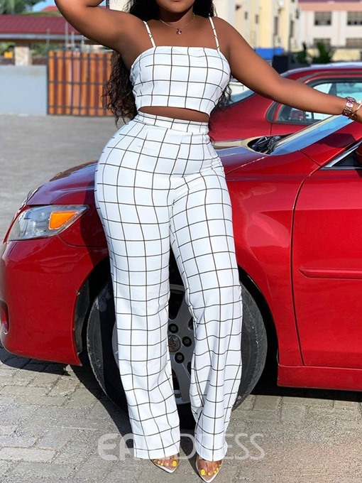 Ericdress Plaid Strap Skinny Office Lady Women's Suit Vest And Pants Two Piece Sets