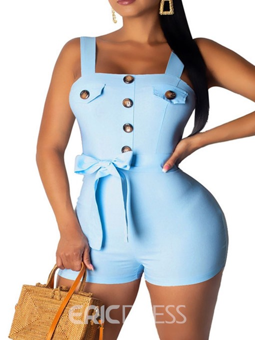 Ericdress Bowknot Strap Button Skinny Romper