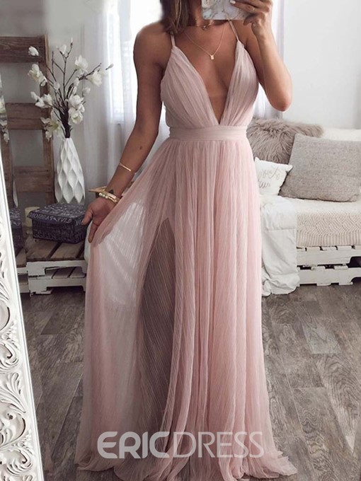 Ericdress Expansion Sleeveless Backless V-Neck Ladylike Plain Dress