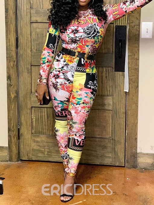 Ericdress Floral Print African Fashion Casual Slim Jumpsuit(Without Belt)