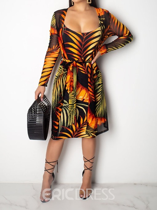Ericdress African Fashion Print Plant Coat And Dress Women's Suit Two Piece Sets