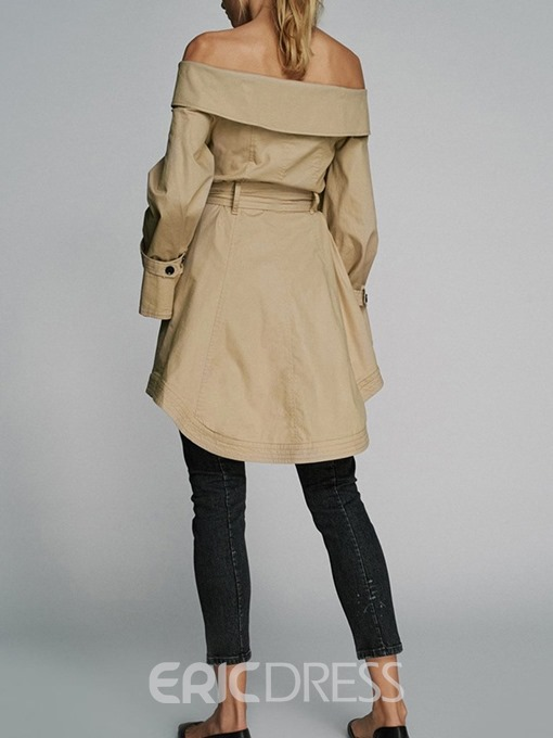 Ericdress Mid-Length Double-Breasted Backless Long Sleeve Hemline/Peplum Trench Coat
