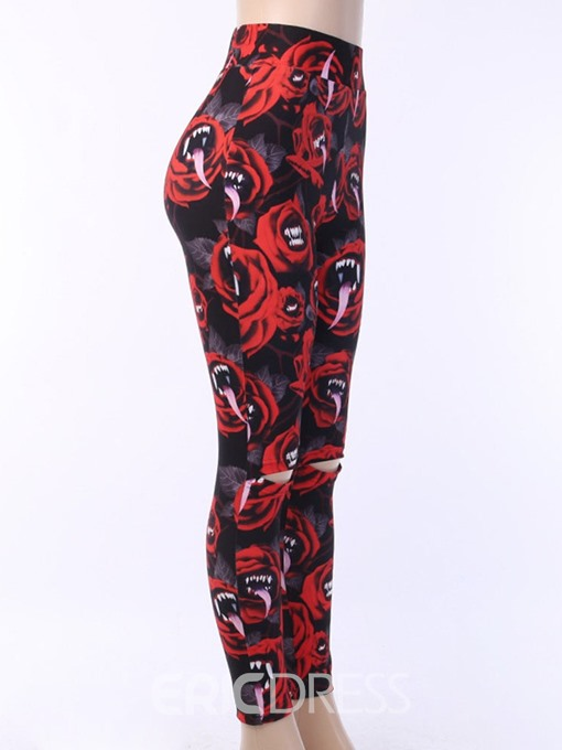 Ericdress Halloween Costume Print Office Lady Floral Leggings