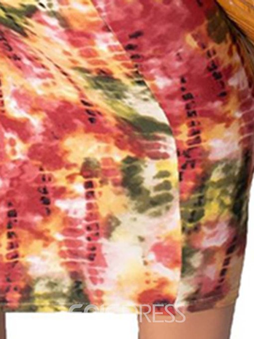 Ericdress Tie-Dye Pencil Mid-Calf Sleeveless Travel Look Pullover Dress
