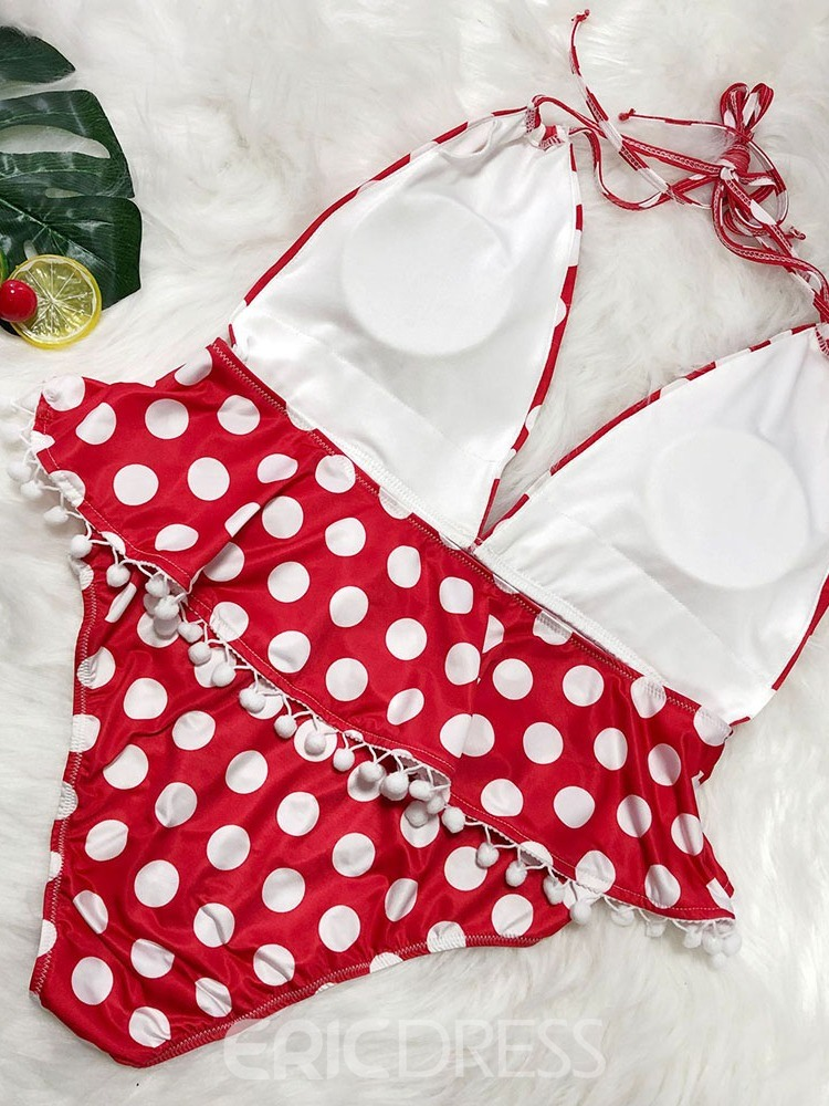 Ericdress Polka Dots V-Neck Lace-Up Swimsuit