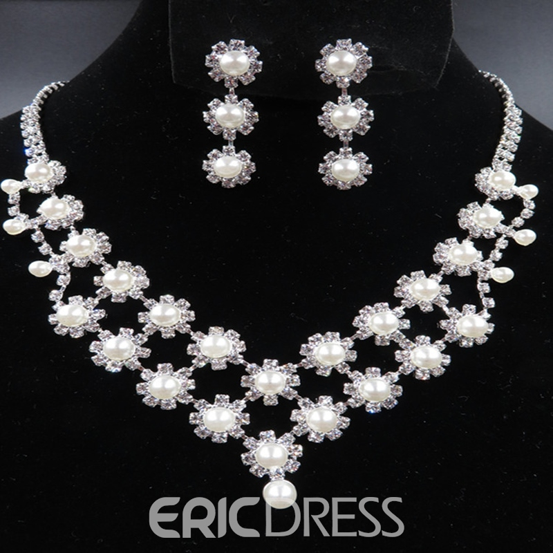 Floral E-Plating Korean Necklace Wedding Jewelry Sets