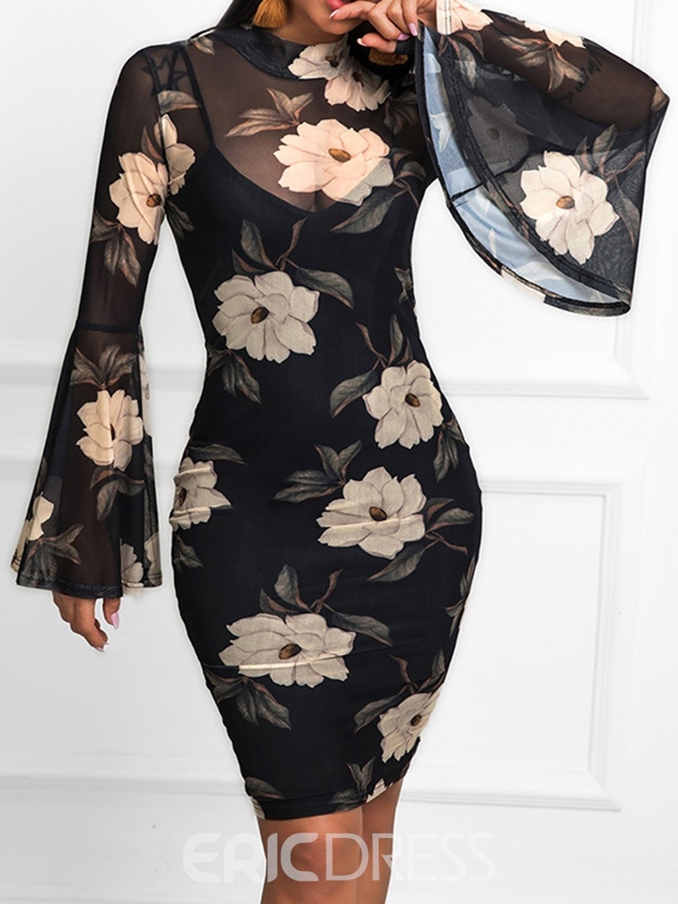 Ericdress Flare Sleeve Bodycon Floral Print Above Knee Dress