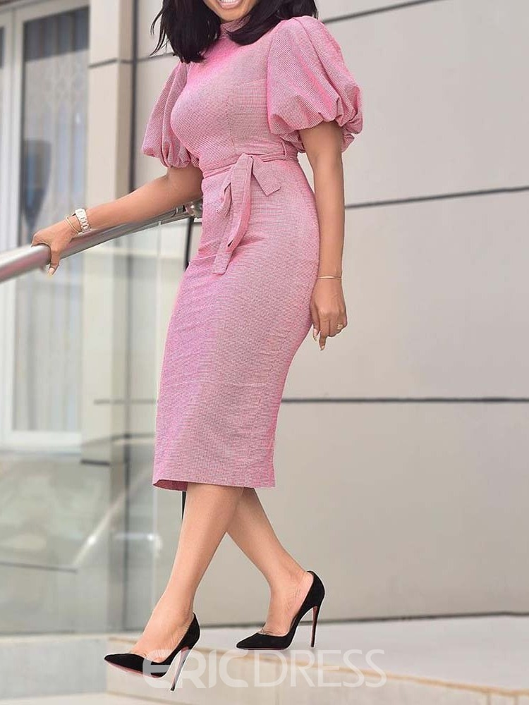 Ericdress Lantern Sleeve Bodycon Office Lady Pink Dress
