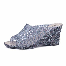 Ericdress PVC Flip Flop Wedge Heel Women's Jelly Shoes
