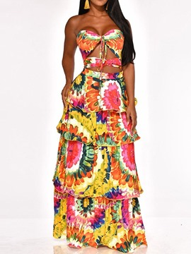 Ericdress African Fashion Sleeveless Floor-Length Sexy Layered Dress Dress