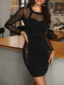 Ericdress See-Through Bodycon Patchwork Round Neck Sexy Dress