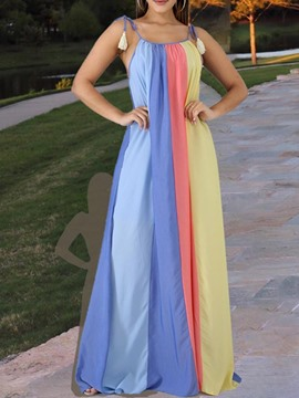 Ericdress Color Block Floor-Length Sleeveless Patchwork Fashion Dress