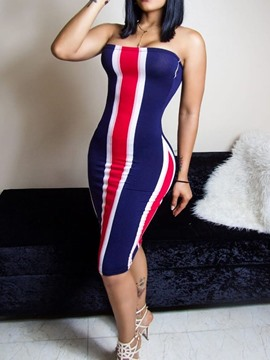 Ericdress Striped Sleeveless Knee-Length Bodycon Strapless Dress
