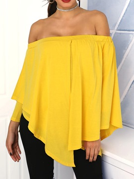 Ericdress Off Shoulder Plain Asymmetric Mid-Length Long Sleeve Blouse
