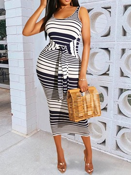 Ericdress Striped Sheath Sleeveless Mid-Calf Standard-Waist Dress