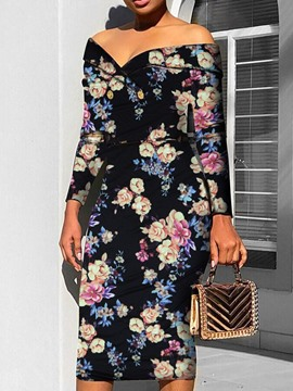Ericdress Floral Print Pencil Mid-Calf Ladylike Dress
