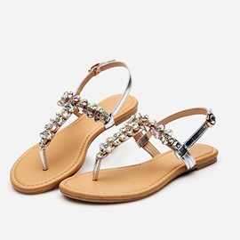 Ericdress Rhinestone Thong Block Heel Buckle Women's Sandals