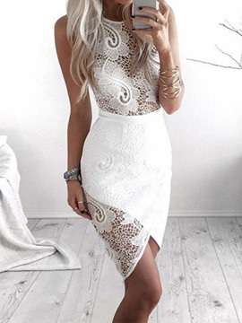 Ericdress See-Through Lace Hollow Asymmetrical Bodycon Dress