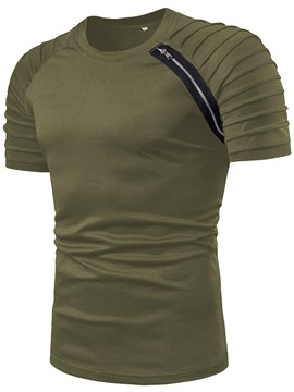 Ericdress Color Block Round Neck Casual Mens Straight T-shirt