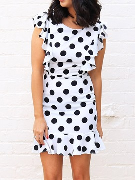 Ericdress Polka Dots Backless Round Neck Above Knee Bodycon Dress