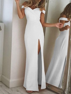 Ericdress Floor-Length Split Short Sleeve Plain Off Shoulder Dress