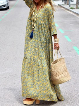 Ericdress Print Casual Floor-Length Travel Look Maxi Dress
