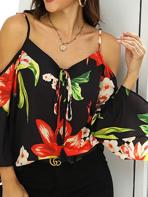 Ericdress Floral Off-Shoulder Lace-Up Fashion Blouse