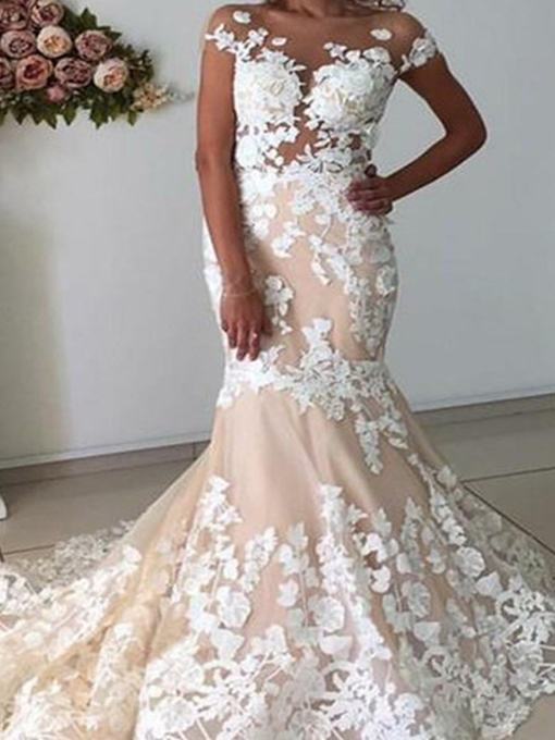 Ericdress Floor-Length Short Sleeves Appliques Wedding Dress 2020