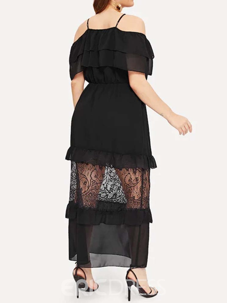 Ericdress Plus Size See-Through Pocket Patchwork Ruffle Dress