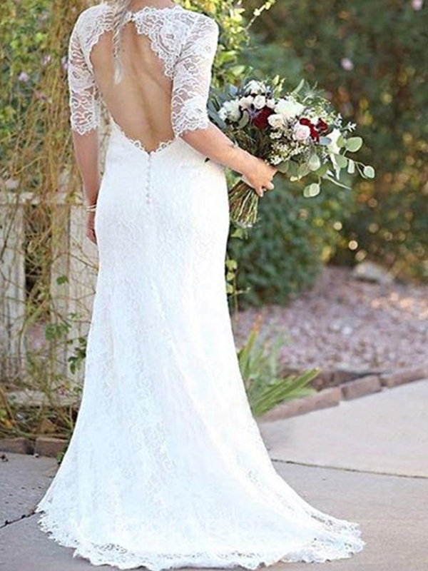 Ericdress Lace Mermaid Scoop Garden/Outdoor Wedding Dress 2020