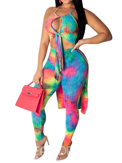 Ericdress Sexy Color Block Strap Vest And Pants Two Piece Sets