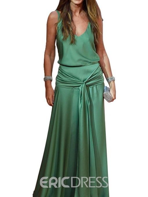 Ericdress Expansion V-Neck Floor-Length A-Line Cocktail Dress