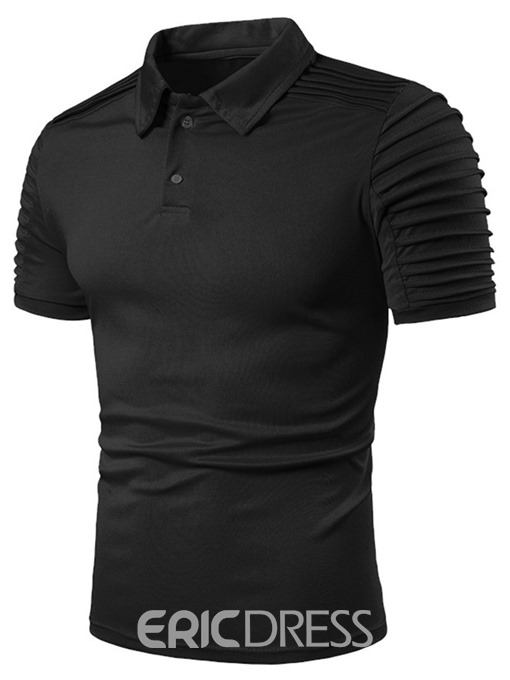 Ericdress Casual Plain Standard Mens Polo Shirt
