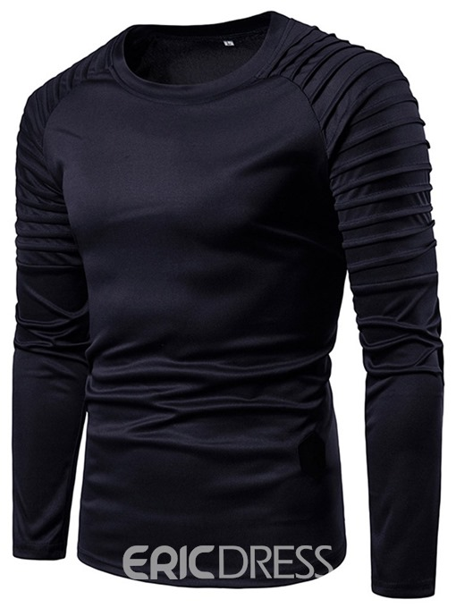 Ericdress Round Neck Casual Pleated Mens Loose T-shirt