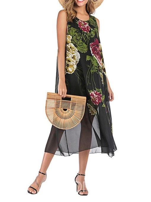 Ericdress Chiffon Print Round Neck Mid-Calf Sleeveless Sweet Dress