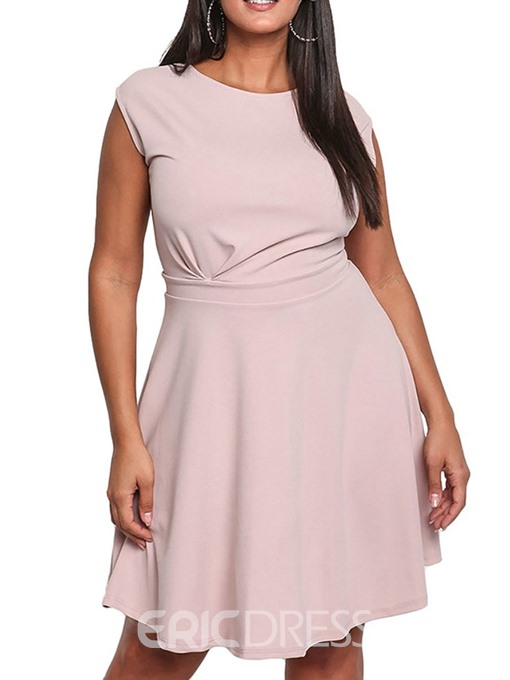 Ericdress Plus Size A-Line Round Neck Sleeveless Above Knee Sweet Plain Dress