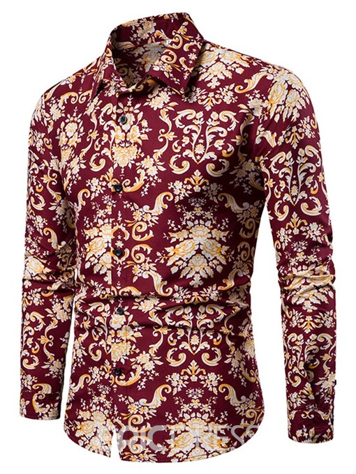 Ericdress Lapel Floral Button Mens Single-Breasted Shirt