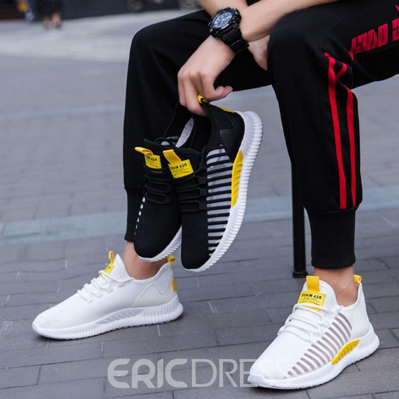 Ericdress Breathable Mesh Color Block Lace-Up Men's Athletic Shoes