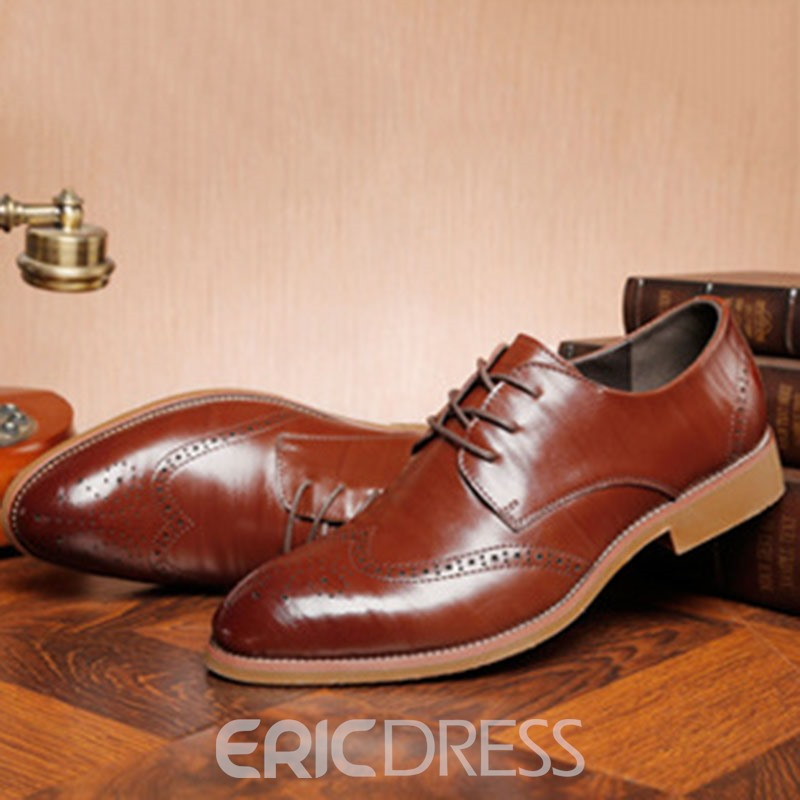 Ericdress Plain Hollow Round Toe Lace-Up Men's Oxfords