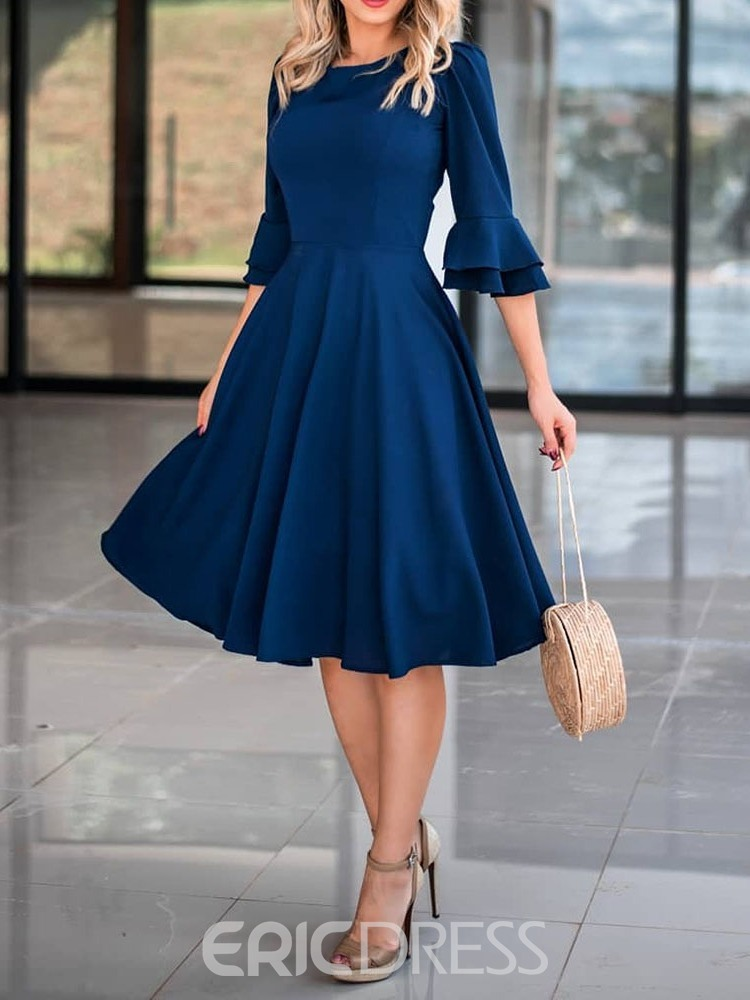 Ericdress Chiffon Flare Sleeve A-Line Plain Dark Blue Dress