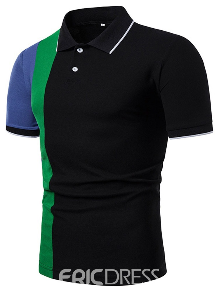Ericdress Slim Button Casual Mens Polo Shirt