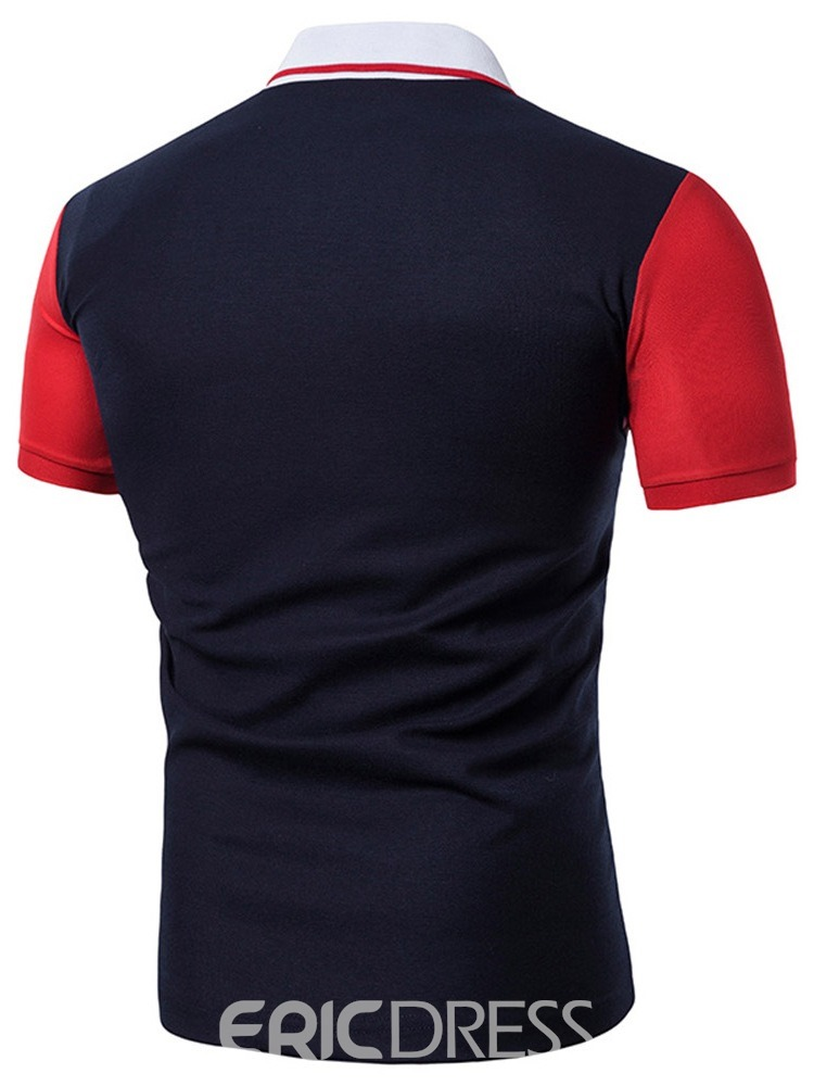 Ericdress Color Block Mens Casual Polo Shirt