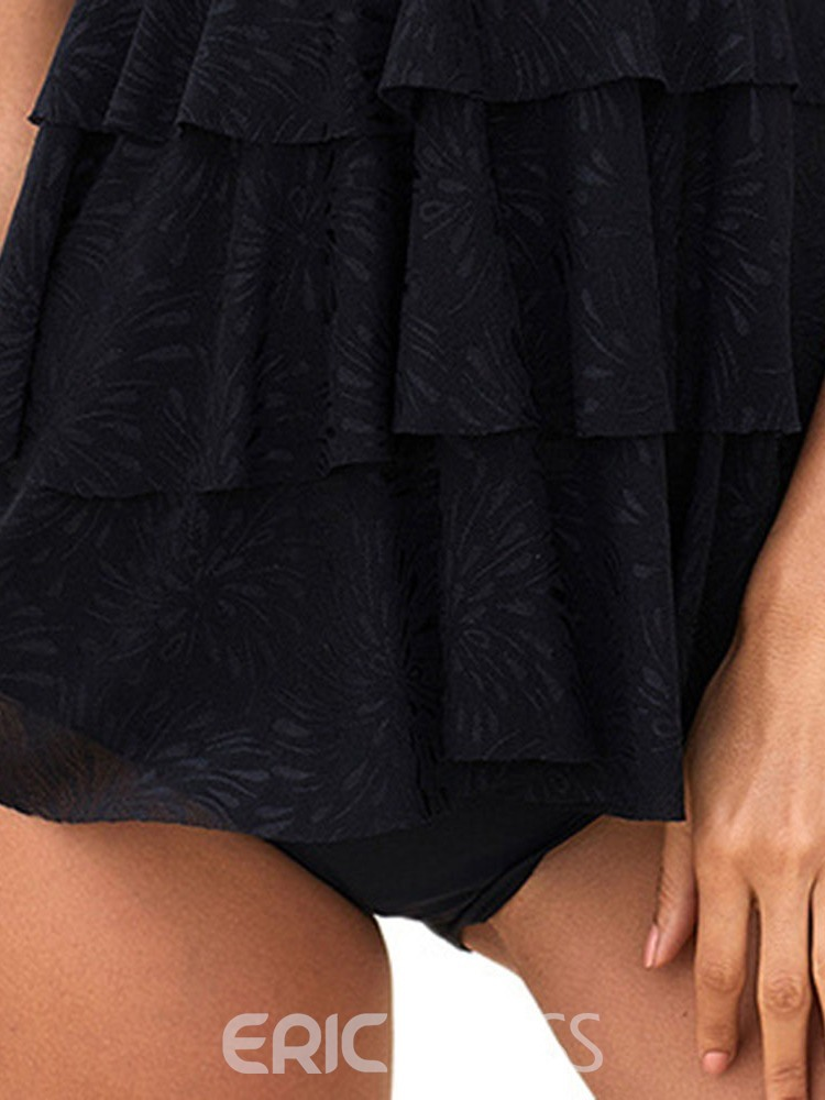 Ericdress Plain Polyester Lace-Up Swimsuit
