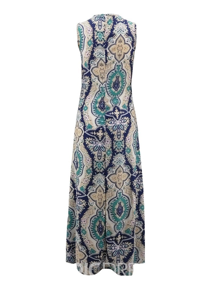 Ericdress African Fashion Expansion Sleeveless Ankle-Length V-Neck Dress