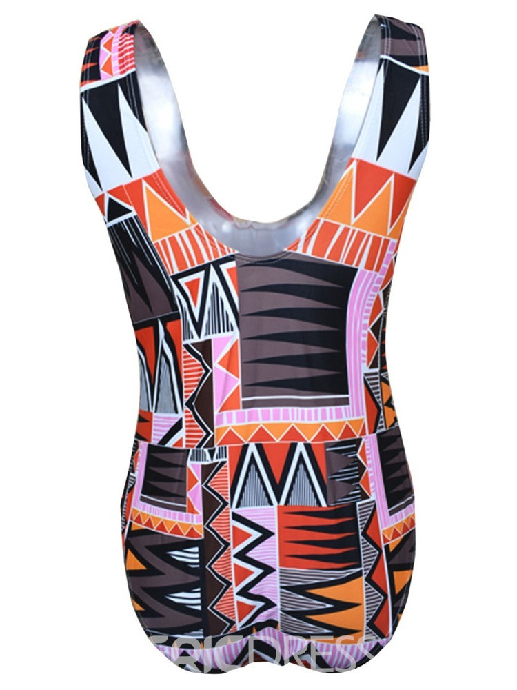 Ericdress Plus Size One Piece Color Block Stretchy Fashion Swimwear