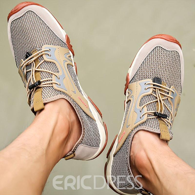 Ericdress Color Block Sports Lace-Up Men's Mesh Sneakers