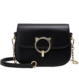 Ericdress Lock Plain PU Saddle Hoop Crossbody Bag