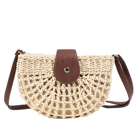 Ericdress Plain Grass Knitted Saddle Crossbody Bag
