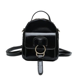 Ericdress Plain Belt-Decorated PU Backpack